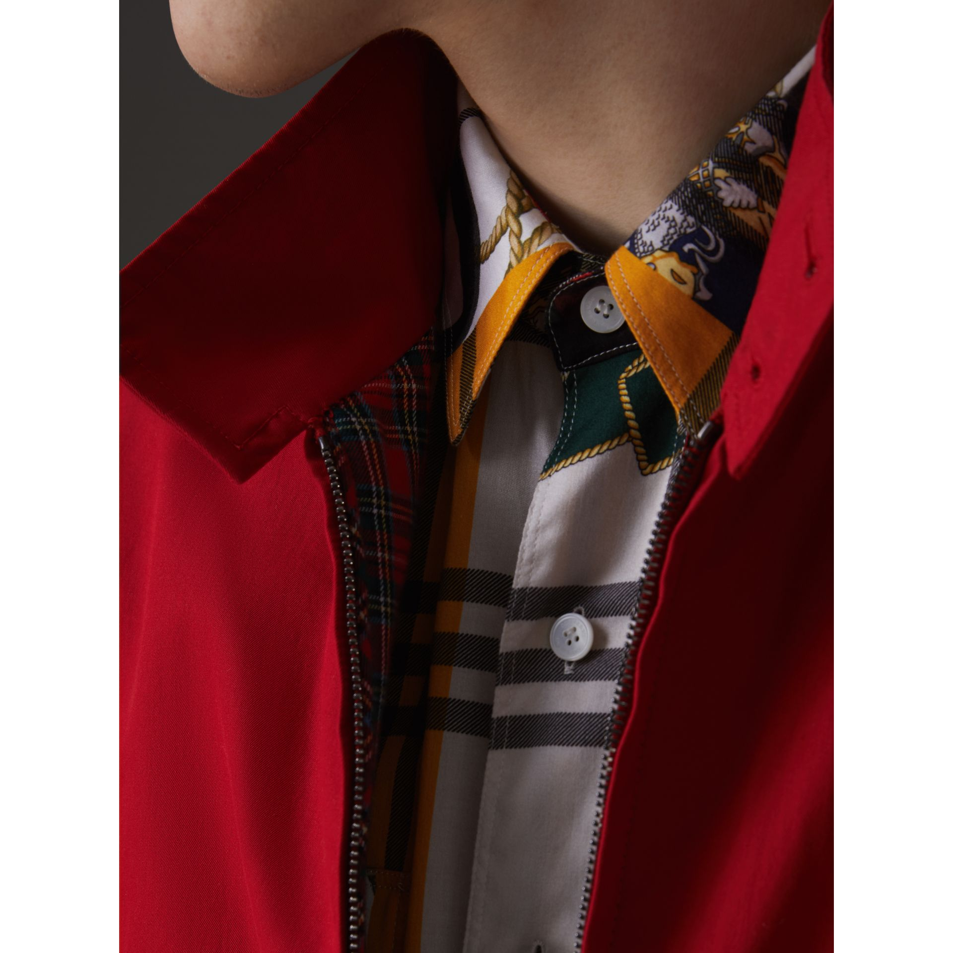 Slim Fit Tropical Gabardine Harrington Jacket in Bright Red - Men | Burberry - gallery image 5
