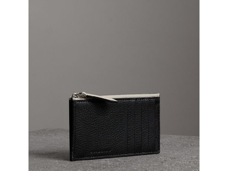 Two-tone Leather Zip Card Case in Black | Burberry Australia - cell image 4