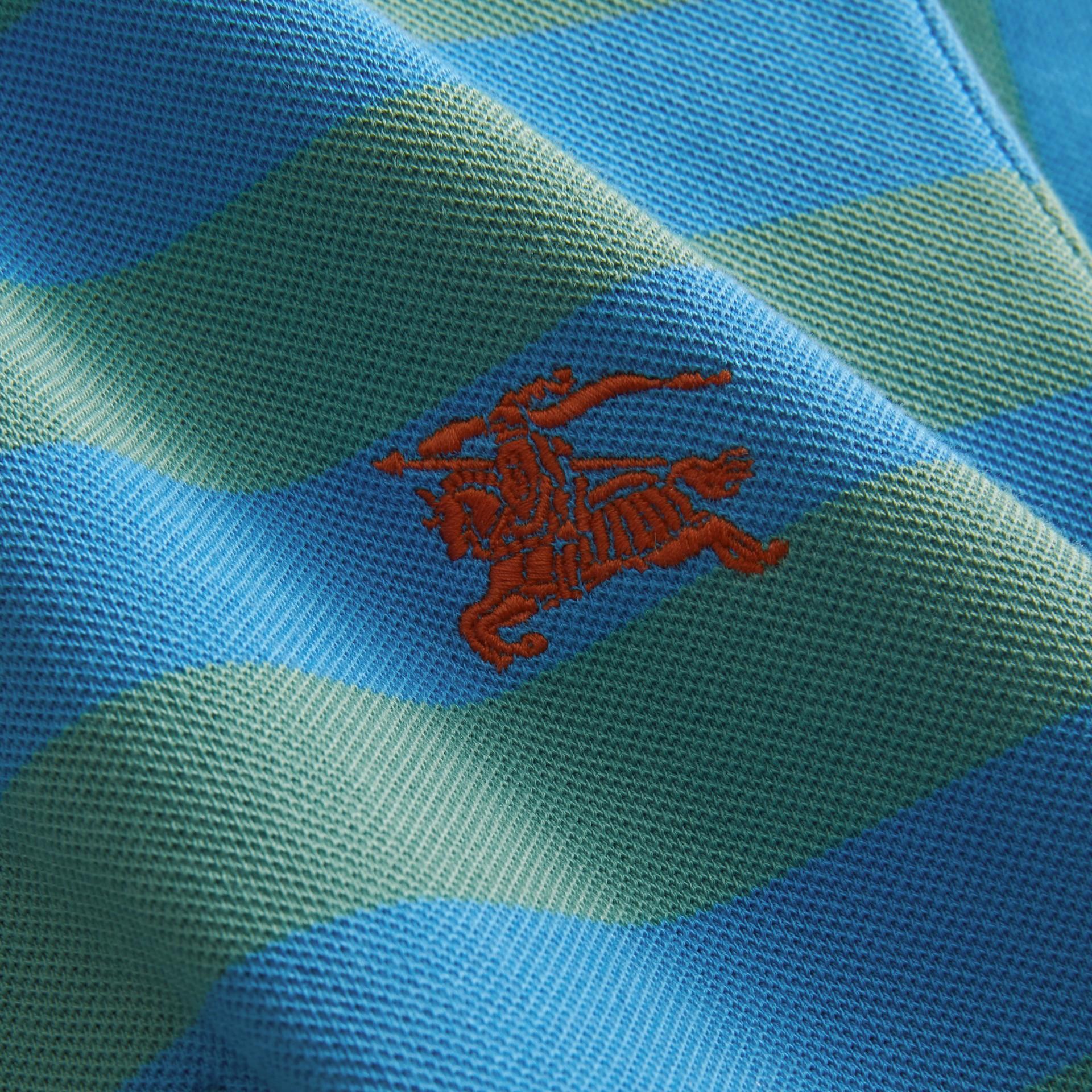 Striped Cotton Polo Shirt Eucalyptus Green/chalk Blue - gallery image 2