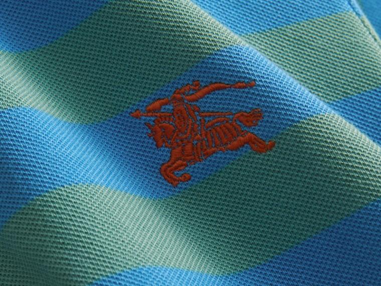 Striped Cotton Polo Shirt Eucalyptus Green/chalk Blue - cell image 1