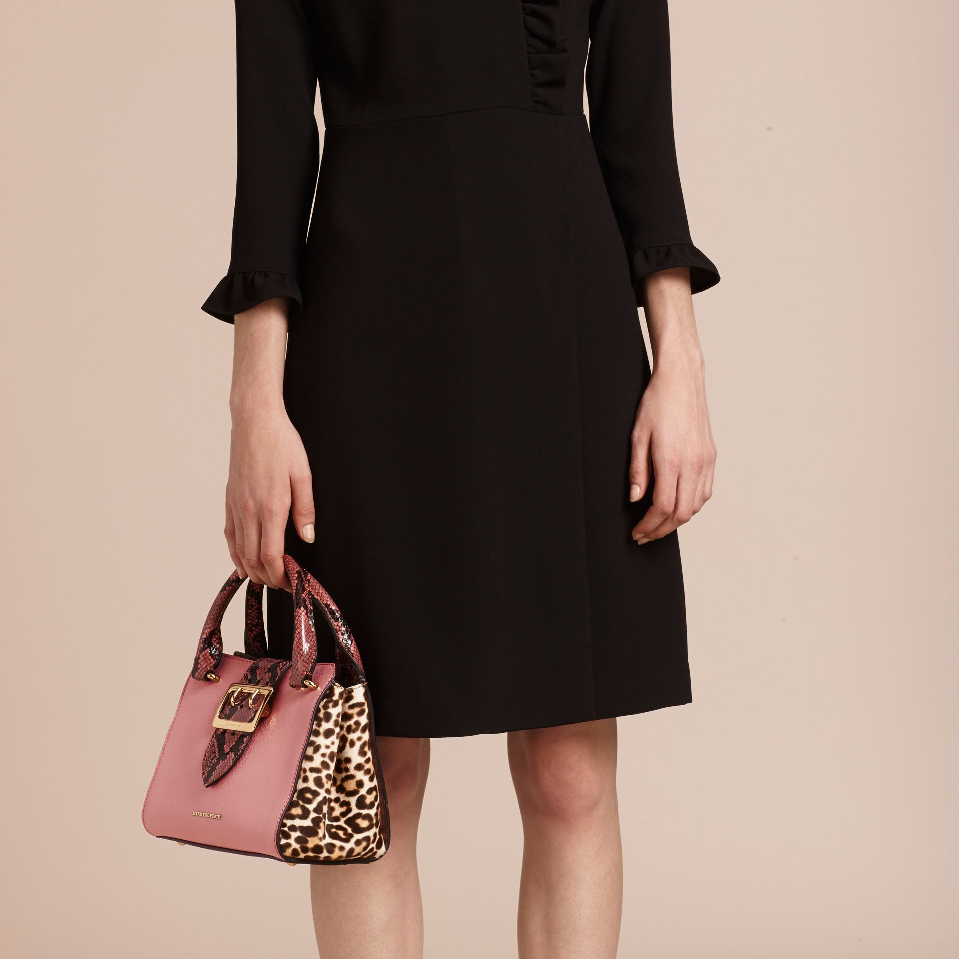 Dusty pink The Small Buckle Tote in Leather and  Leopard-print Calfskin Dusty Pink - gallery image 4