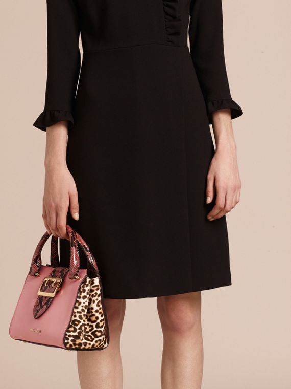 Dusty pink The Small Buckle Tote in Leather and  Leopard-print Calfskin Dusty Pink - cell image 3