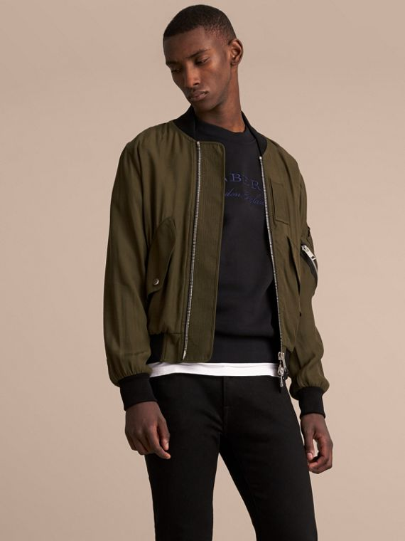 Technical Twill Bomber Jacket in Dark Olive