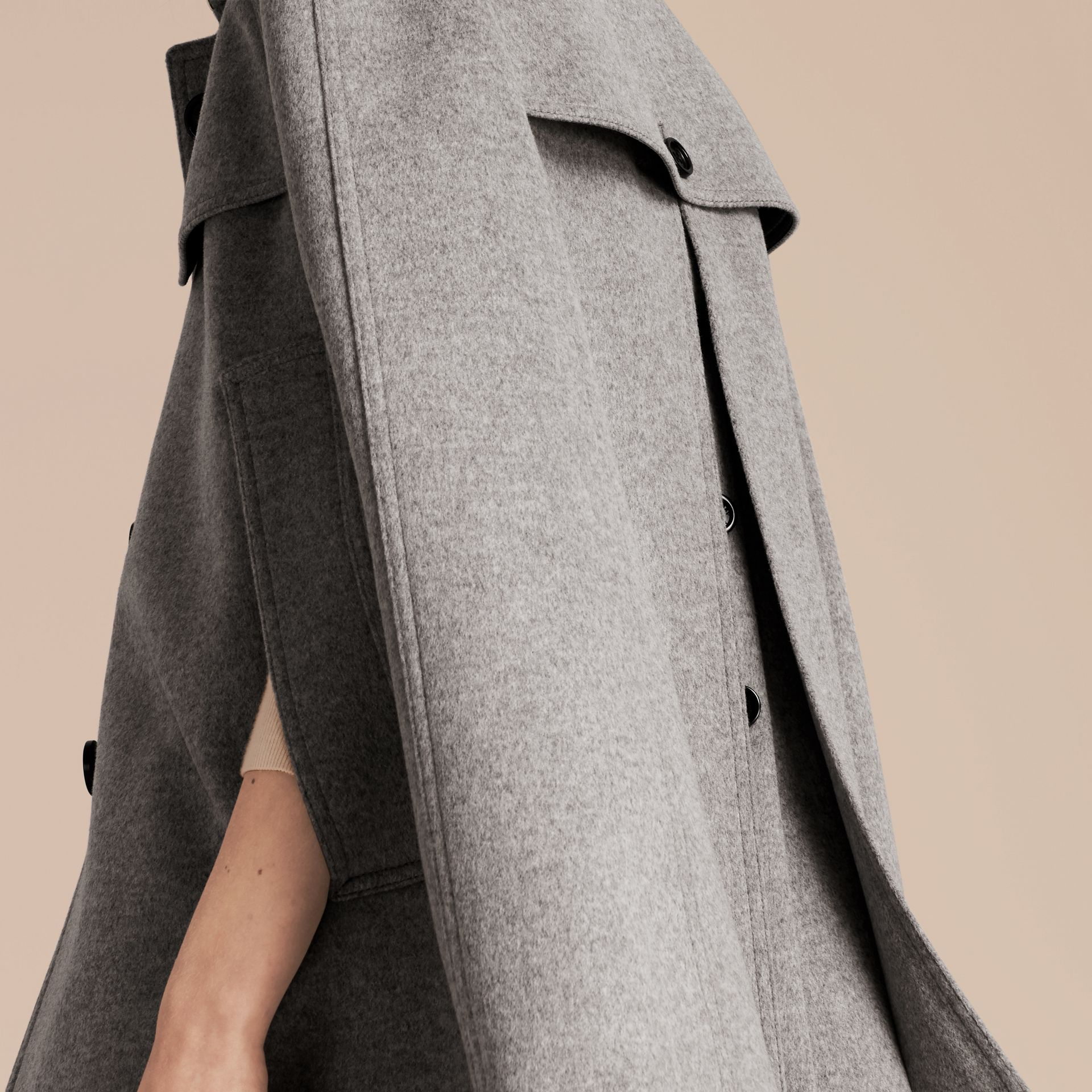 Pale grey melange Wool Cashmere Trench Cape with Detachable Fur Collar - gallery image 6