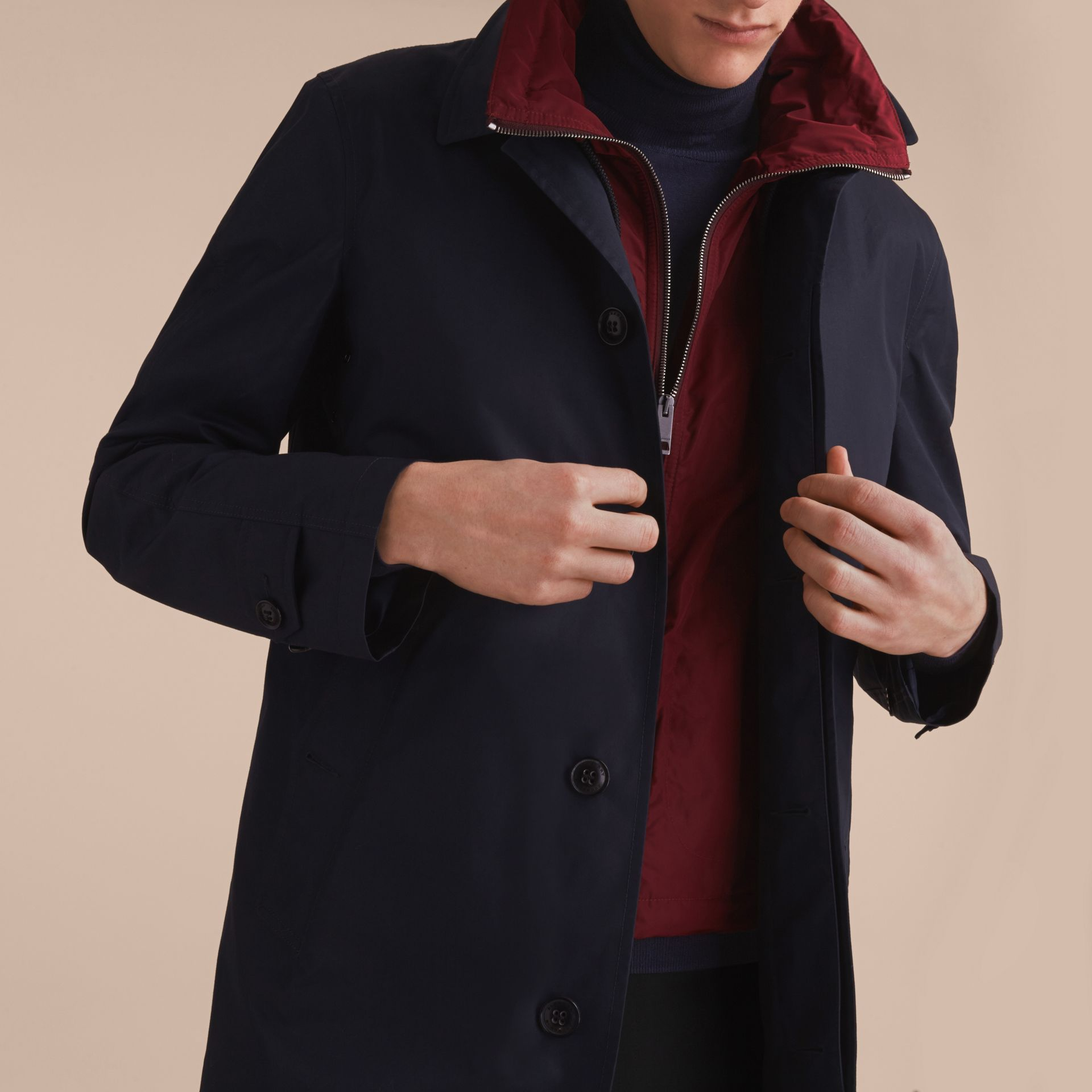 Lightweight Cotton Car Coat with Detachable Gilet Navy - gallery image 5