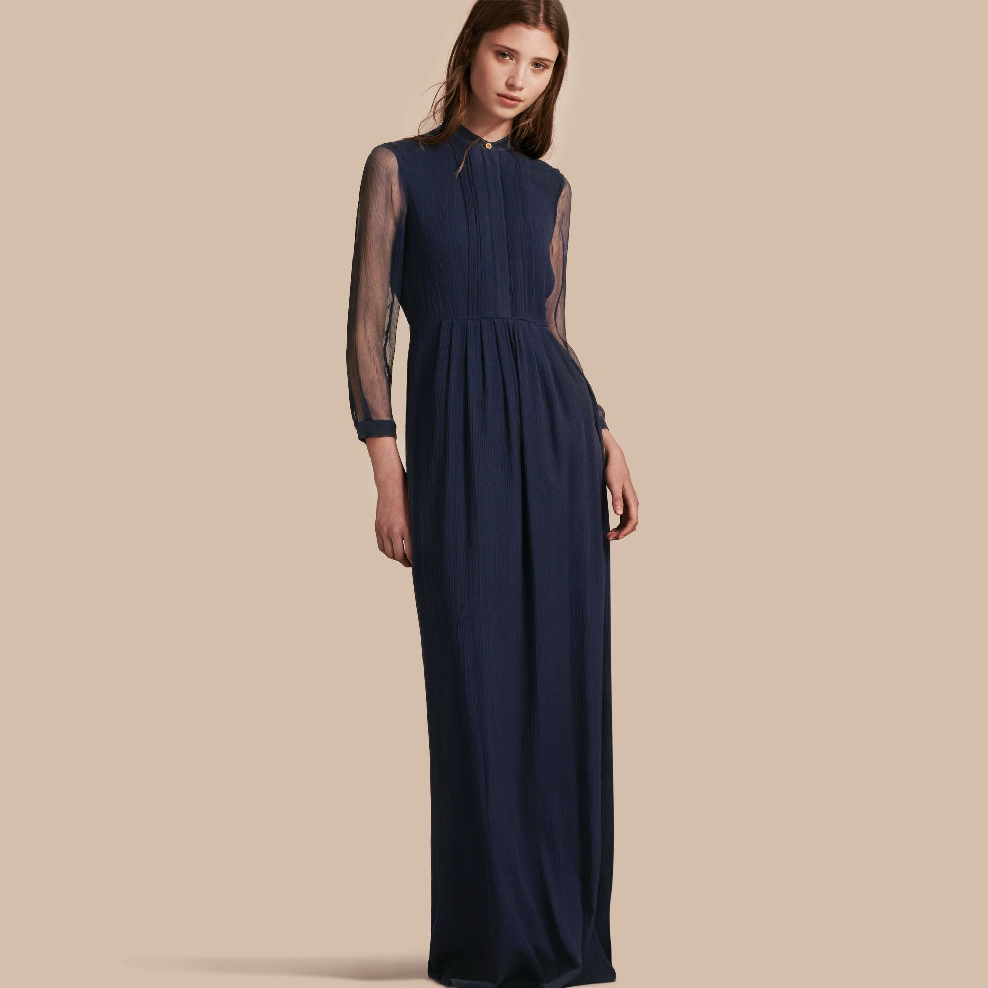 Navy Pleat Detail Floor-length Silk Dress - gallery image 1