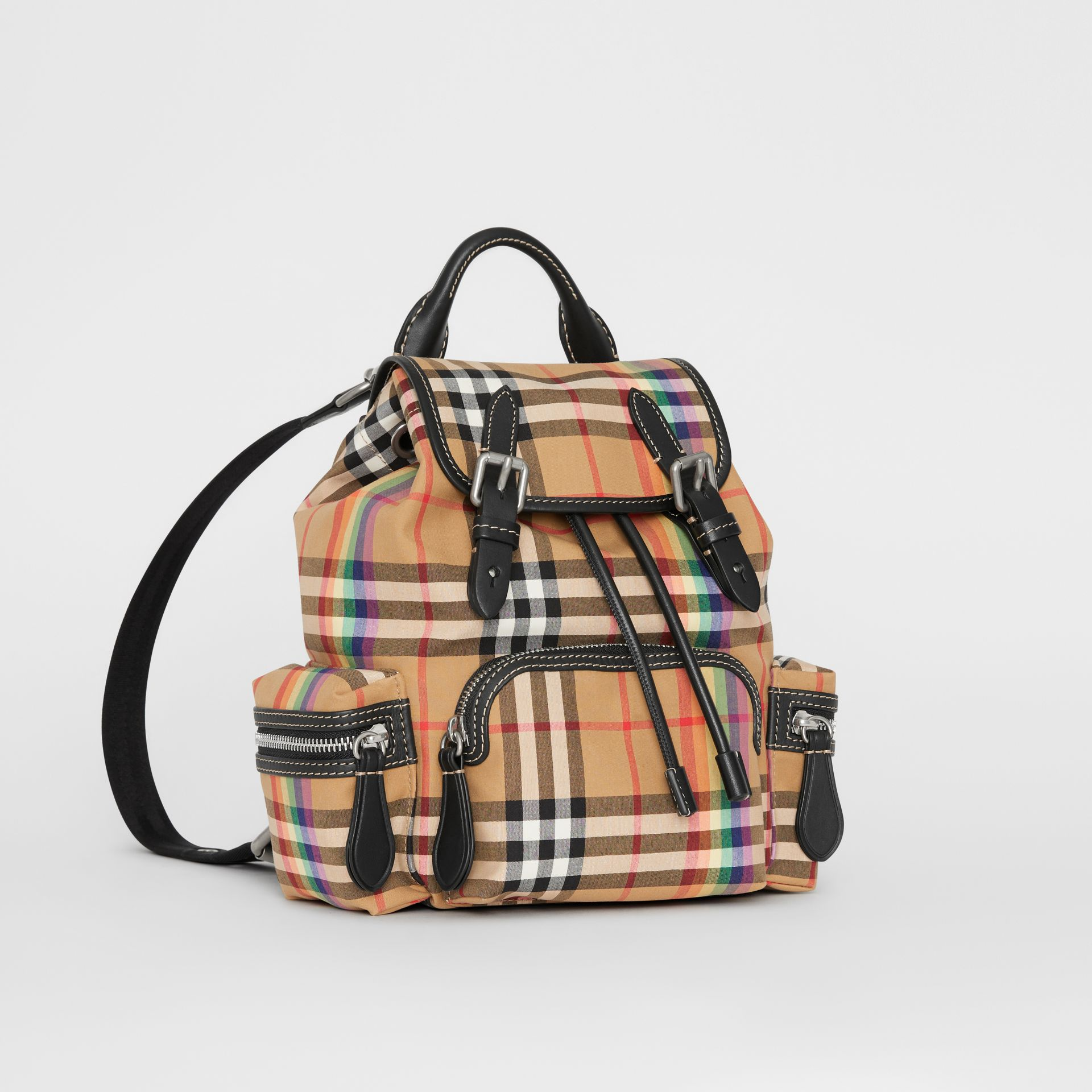 The Small Crossbody Rucksack in Rainbow Vintage Check in Antique Yellow - Women | Burberry United Kingdom - gallery image 4