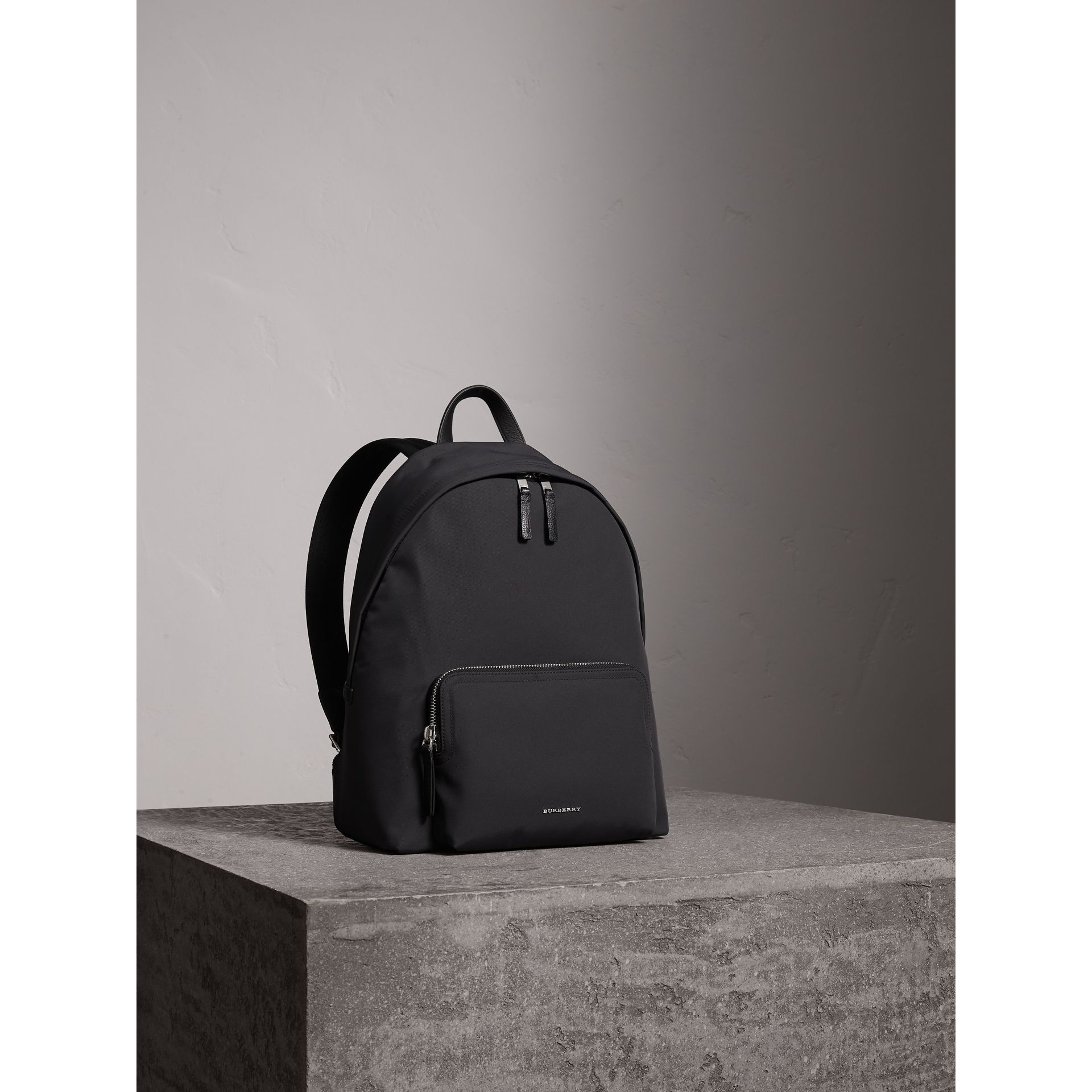Leather Trim Technical Backpack in Black - Men | Burberry - gallery image 7