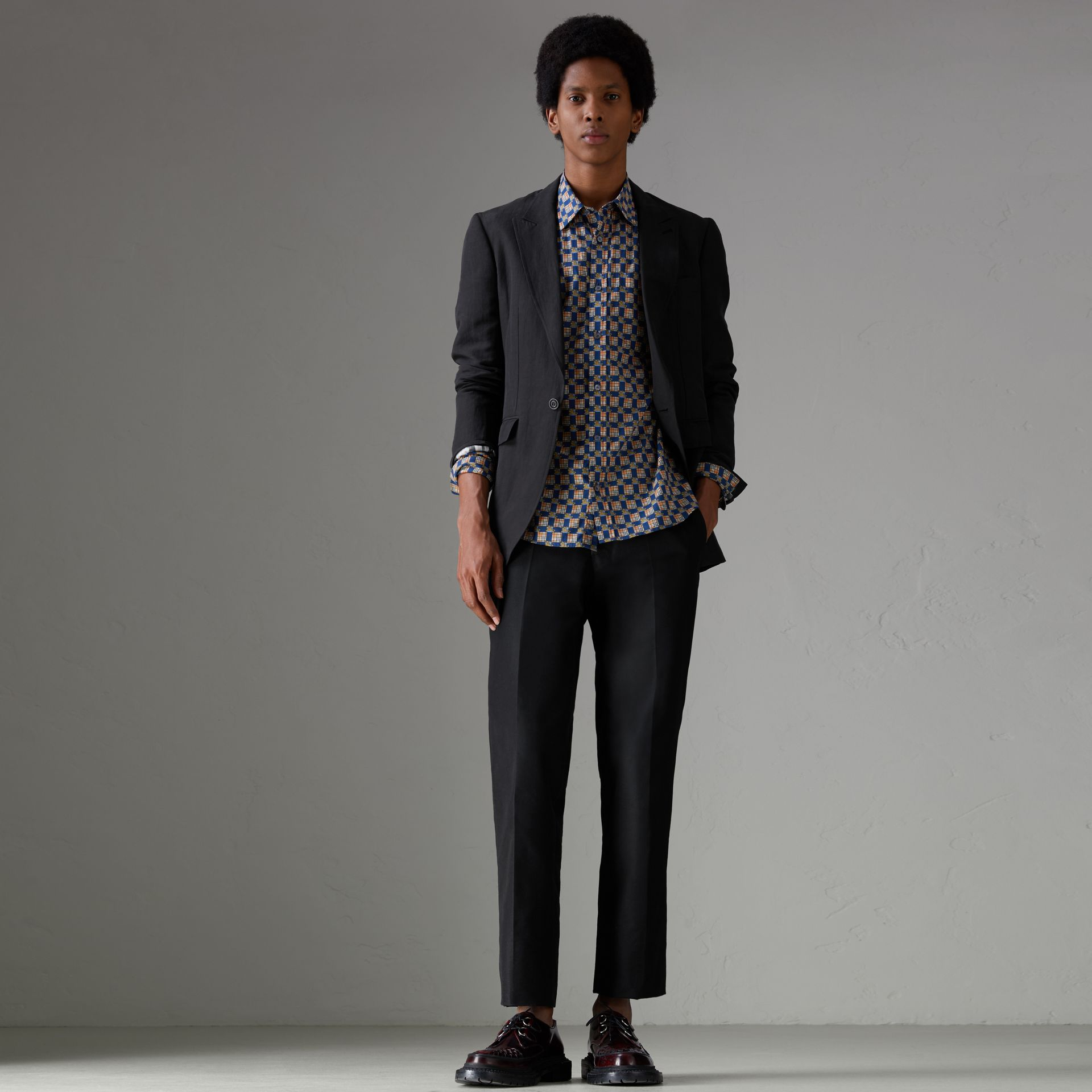 Slim Fit Linen Silk Evening Jacket in Black - Men | Burberry Australia - gallery image 0