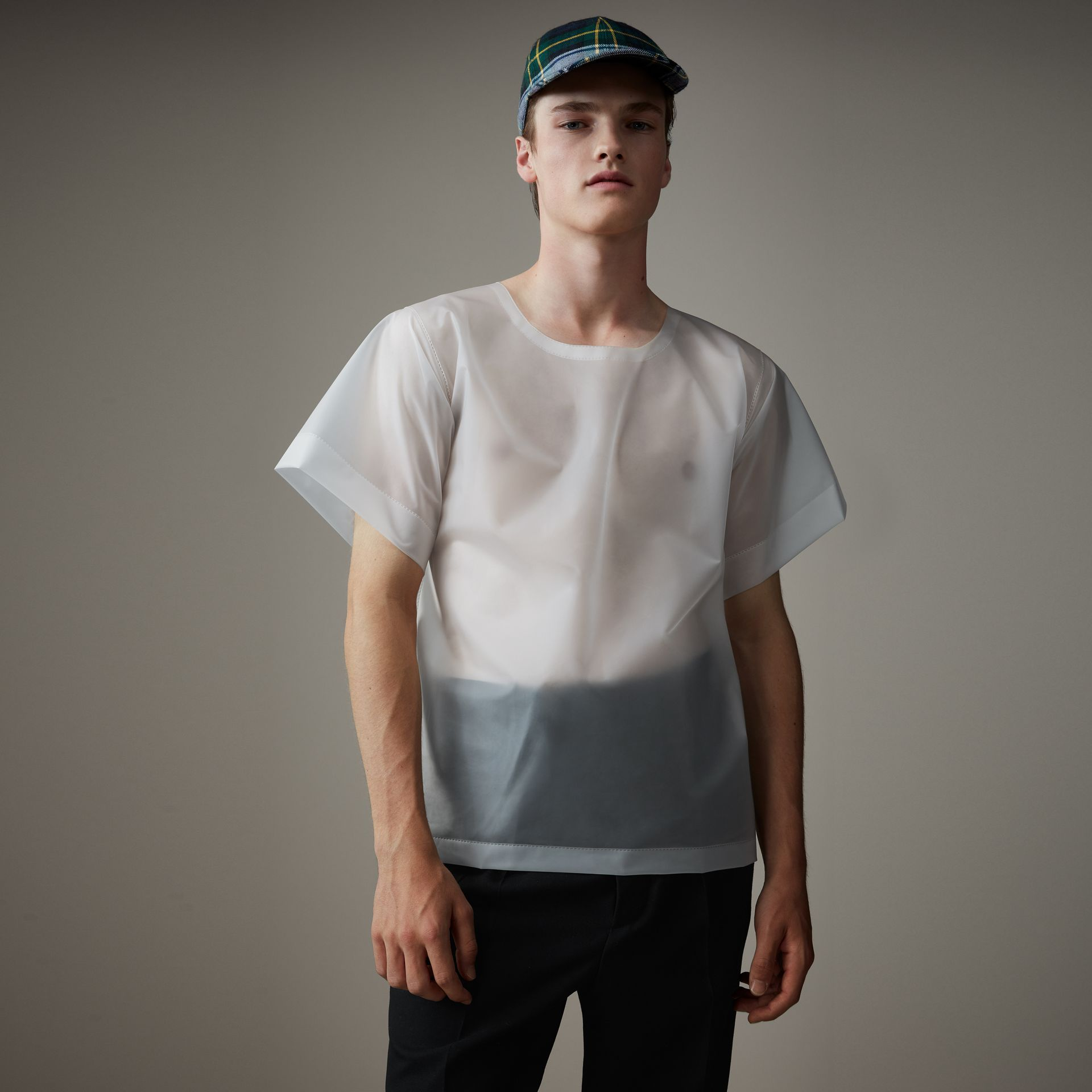 Soft-touch Plastic T-shirt in Transparent - Men | Burberry - gallery image 0