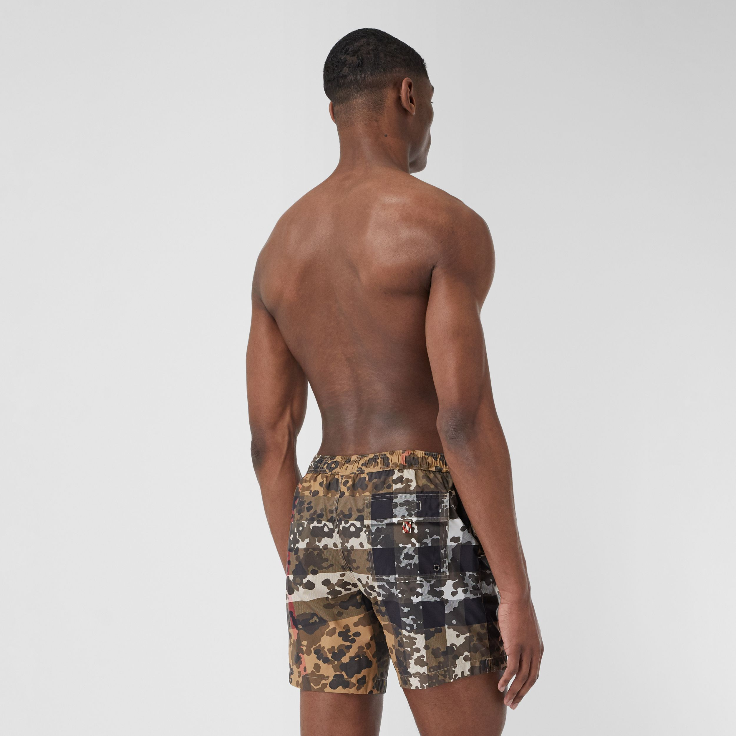 Camouflage Check Drawcord Swim Shorts in Archive Beige - Men | Burberry - 2