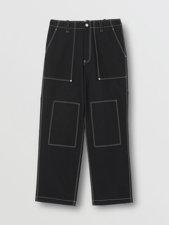 Topstitch Detail Wool Blend Wide-leg Trousers in Black