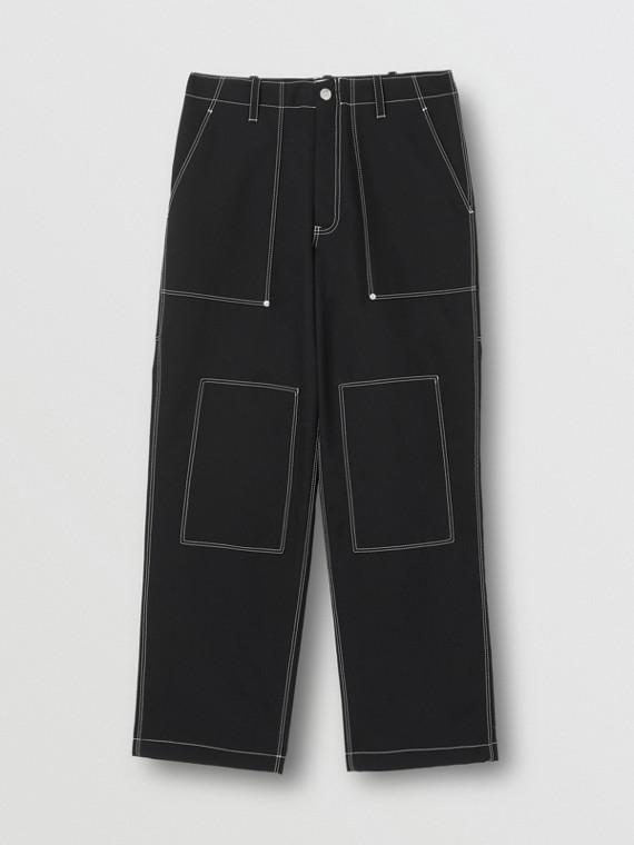 Calças estilo pantalona de lã com detalhe pespontado (Preto)