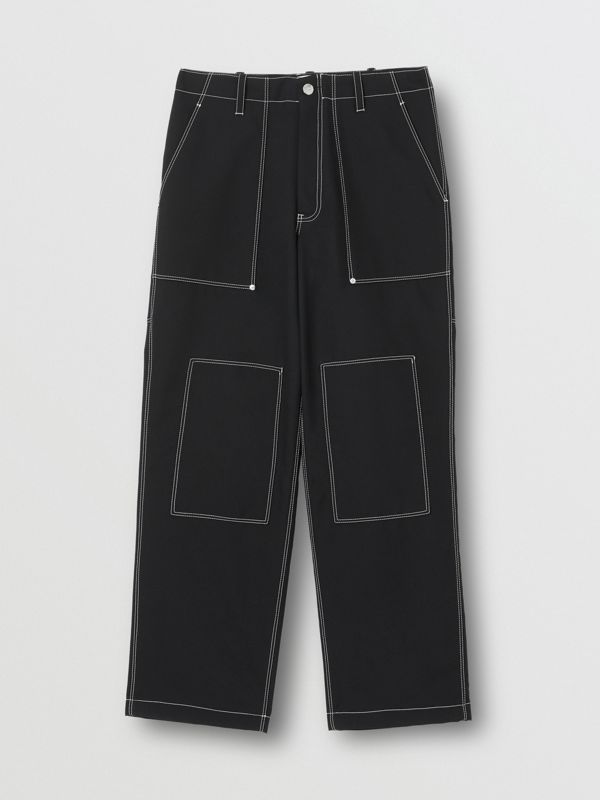 Topstitch Detail Wool Blend Wide-leg Trousers in Black - Men | Burberry - cell image 3