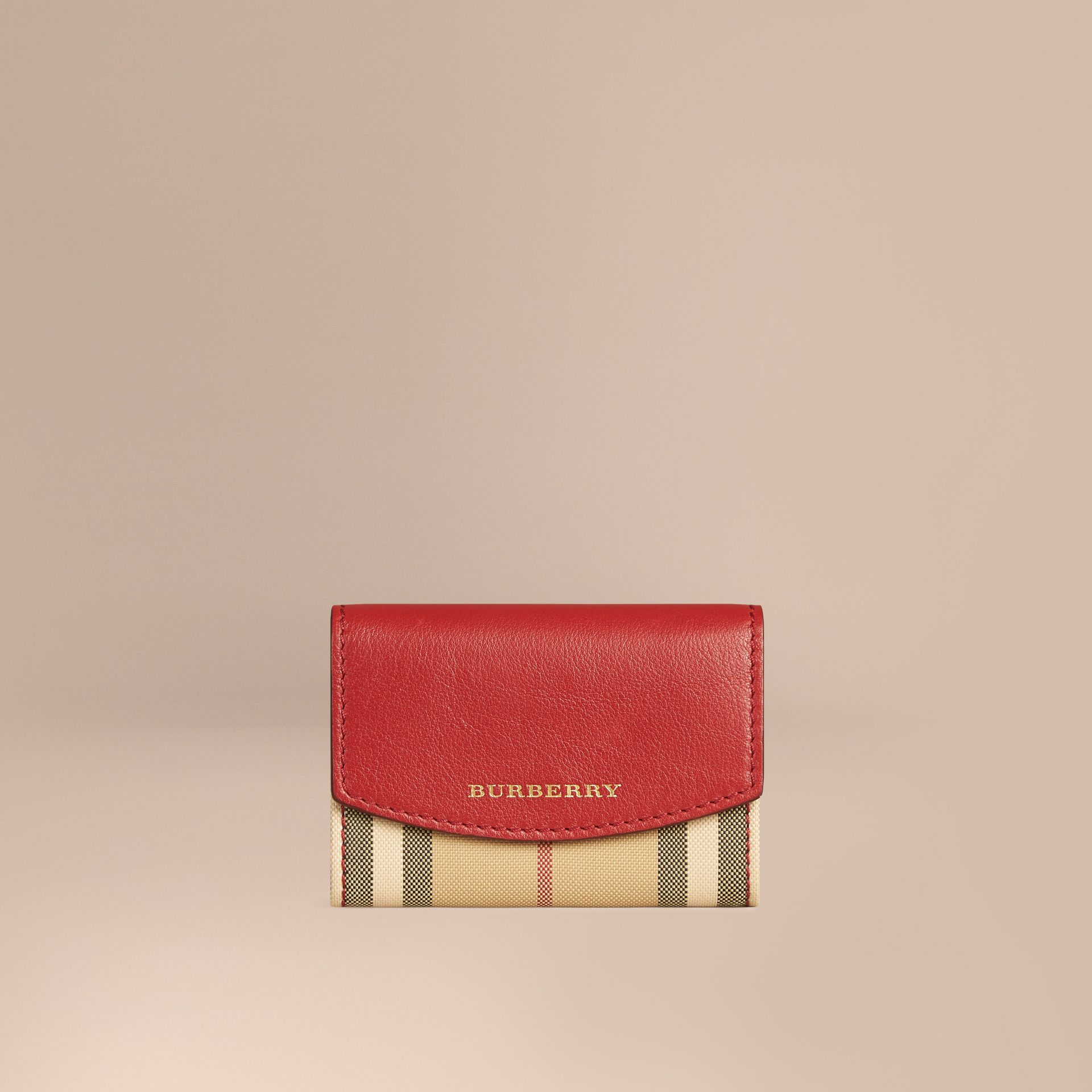 Parade red Horseferry Check and Leather Card Case Parade Red - gallery image 1