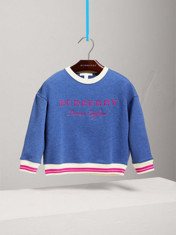 Striped Hem Embroidered Cotton Jersey Sweatshirt in Hydrangea Blue - Girl | Burberry United States - cell image 2