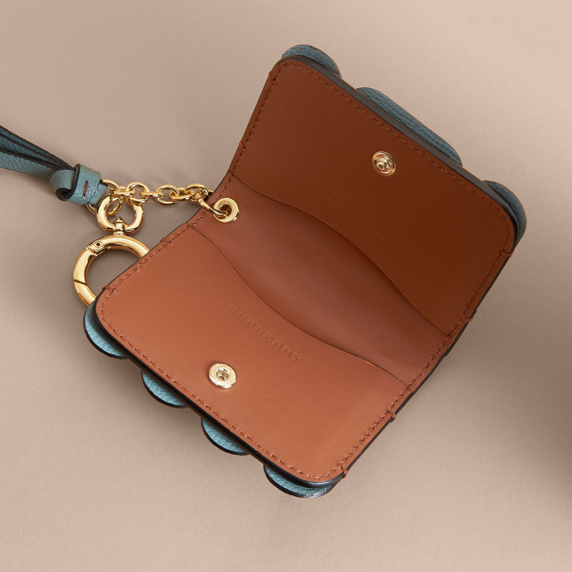 Scalloped Leather Card Case Bright Toffee - gallery image 4