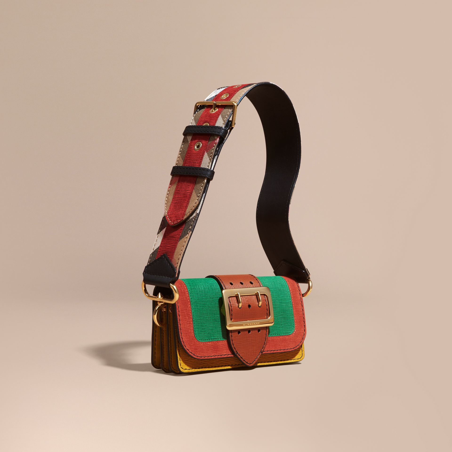 The Small Buckle Bag in Textured Leather in Bright Green - gallery image 1