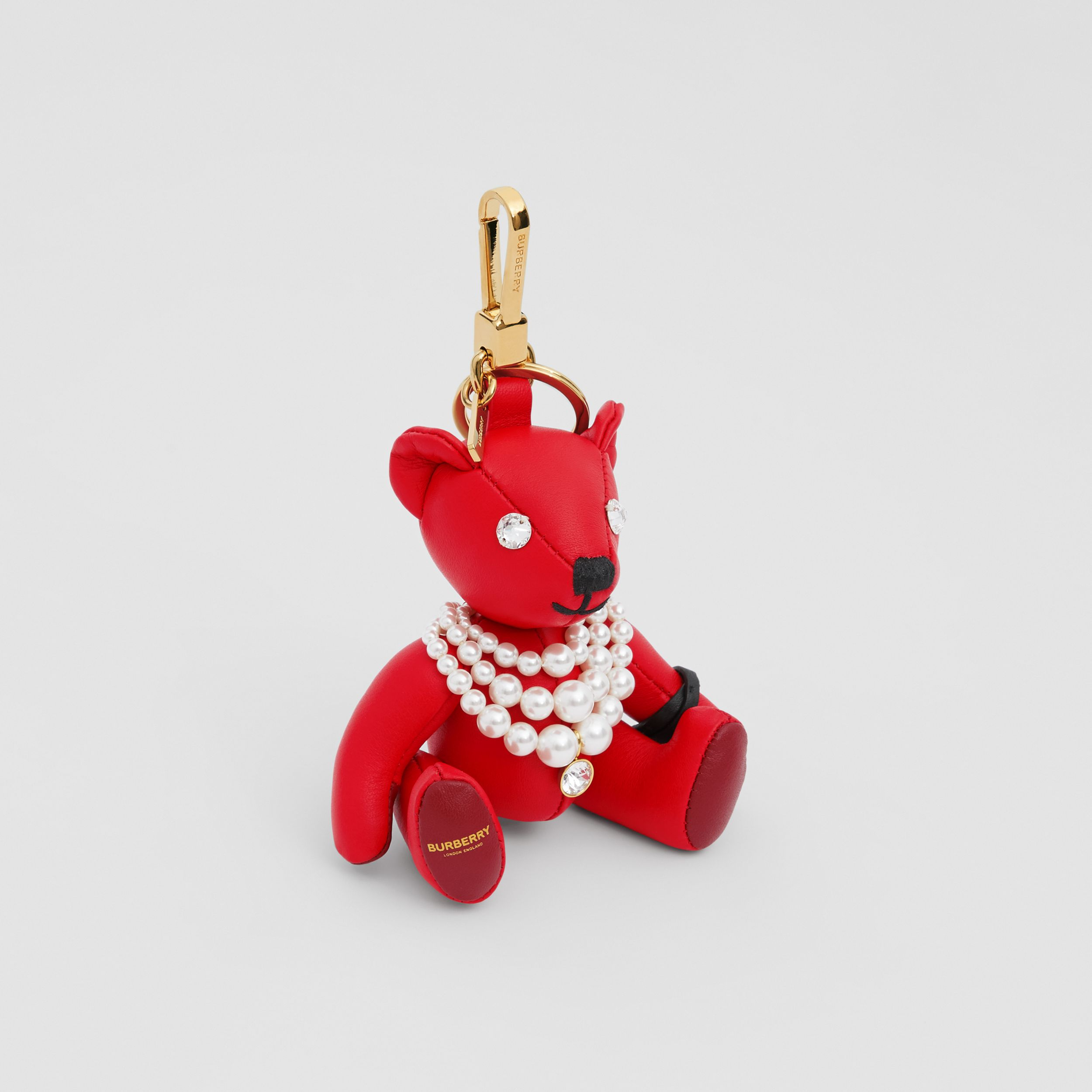 Thomas Bear Charm in Resin Pearl Necklace in Red | Burberry - 1