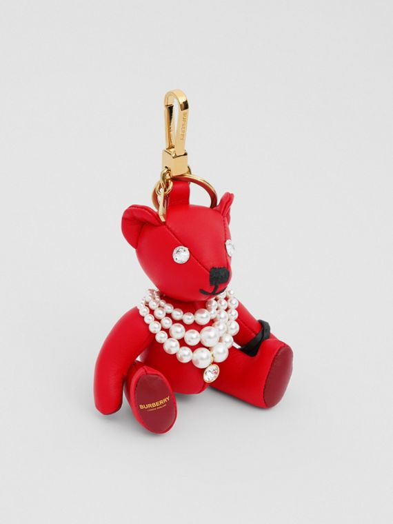 Thomas Bear Charm in Faux Pearl Necklace in Red