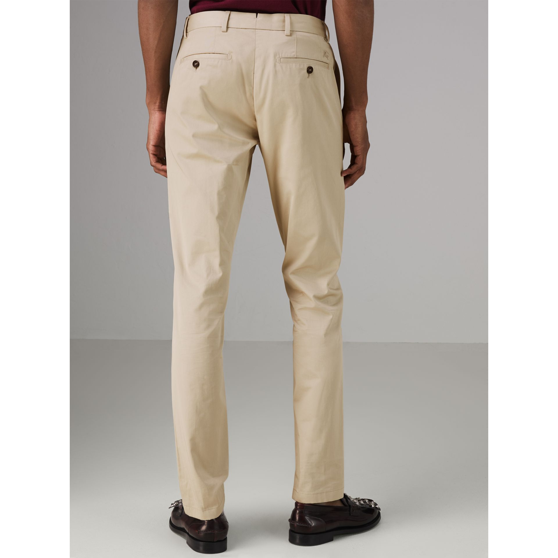 Slim Fit Cotton Chinos in Stone - Men | Burberry - gallery image 2