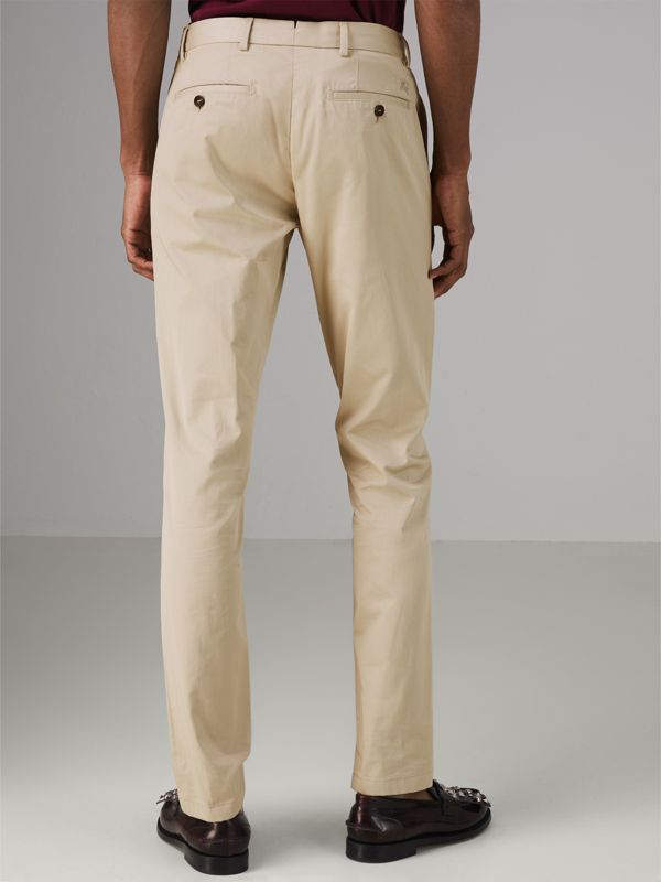 Slim Fit Cotton Chinos in Stone - Men | Burberry - cell image 2