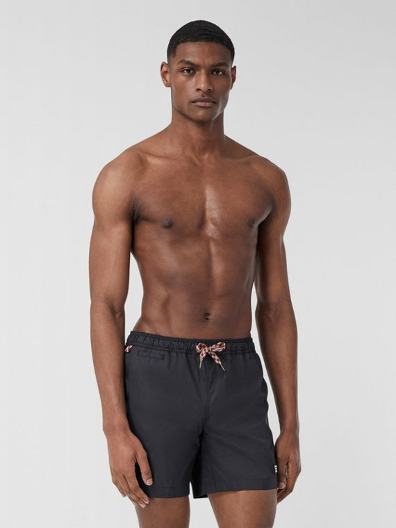 Logo Appliqué Drawcord Swim Shorts in Navy