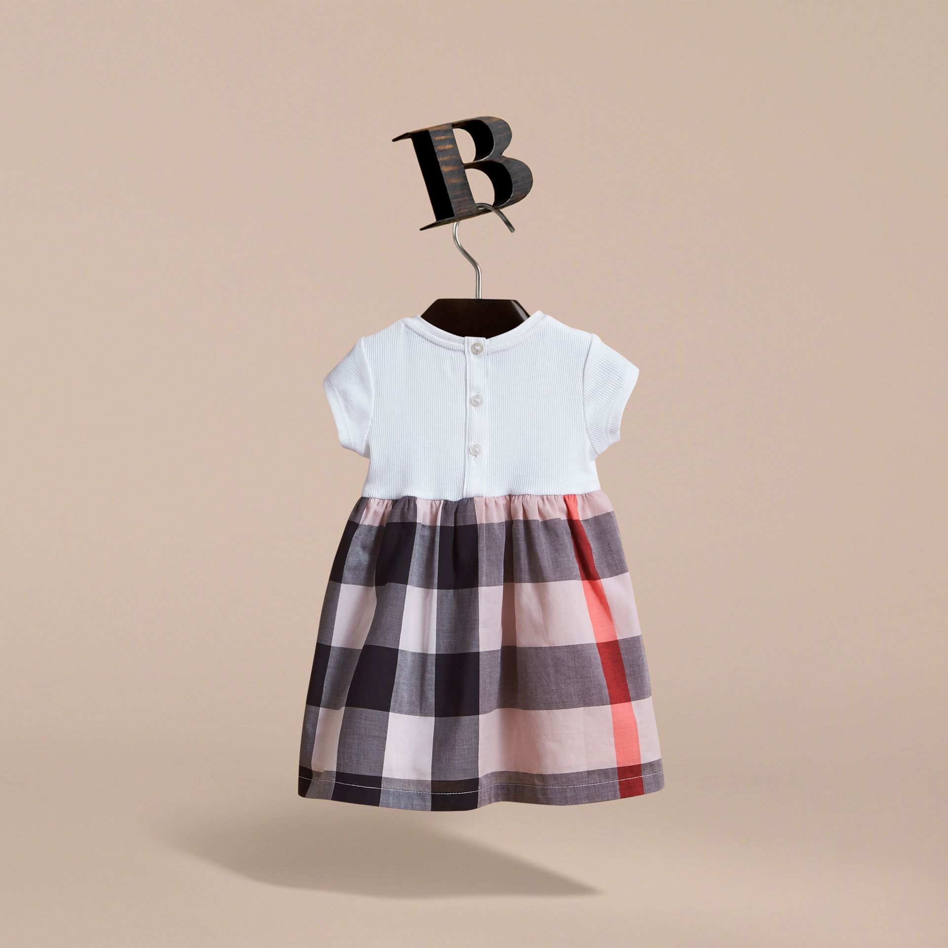 Check Cotton Jersey T-shirt Dress in Vintage Pink | Burberry Australia - gallery image 4