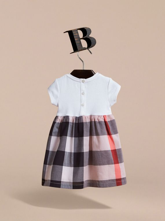 Check Cotton Jersey T-shirt Dress in Vintage Pink | Burberry - cell image 3