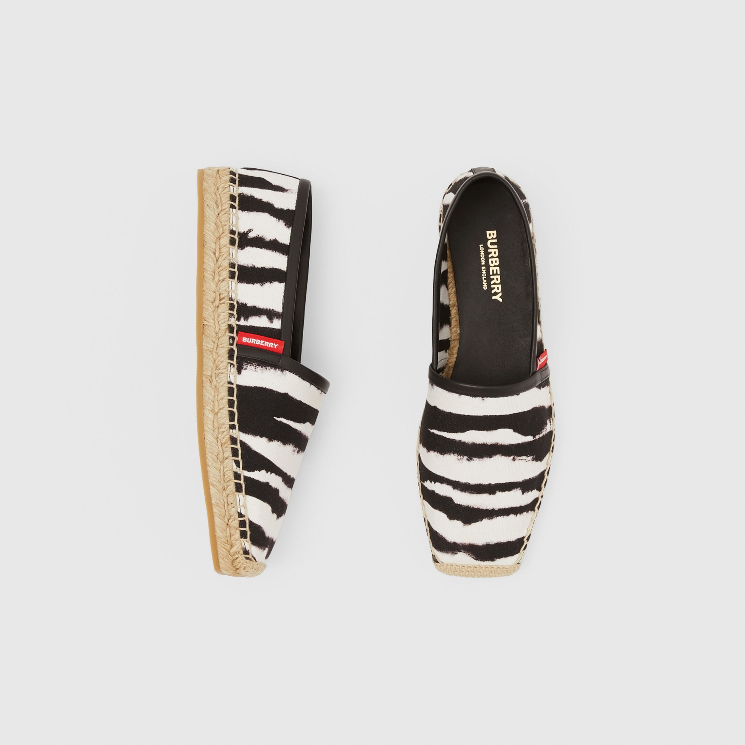 Watercolour Print Cotton Canvas Espadrilles in Black/white - Women | Burberry Hong Kong S.A.R. - 1