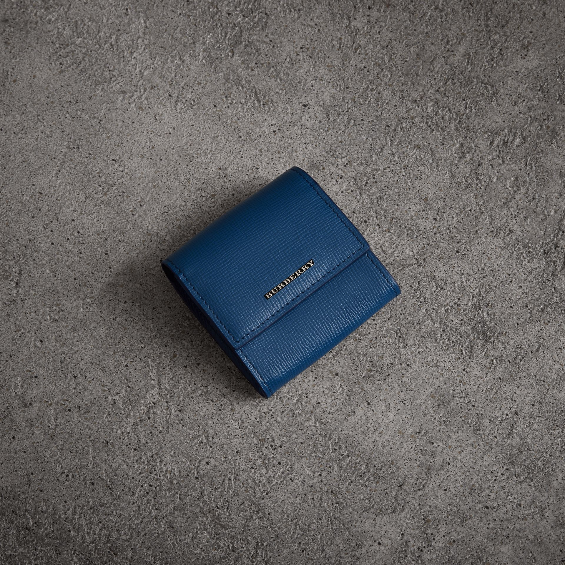 London Leather Coin Case in Deep Blue - Men | Burberry - gallery image 0