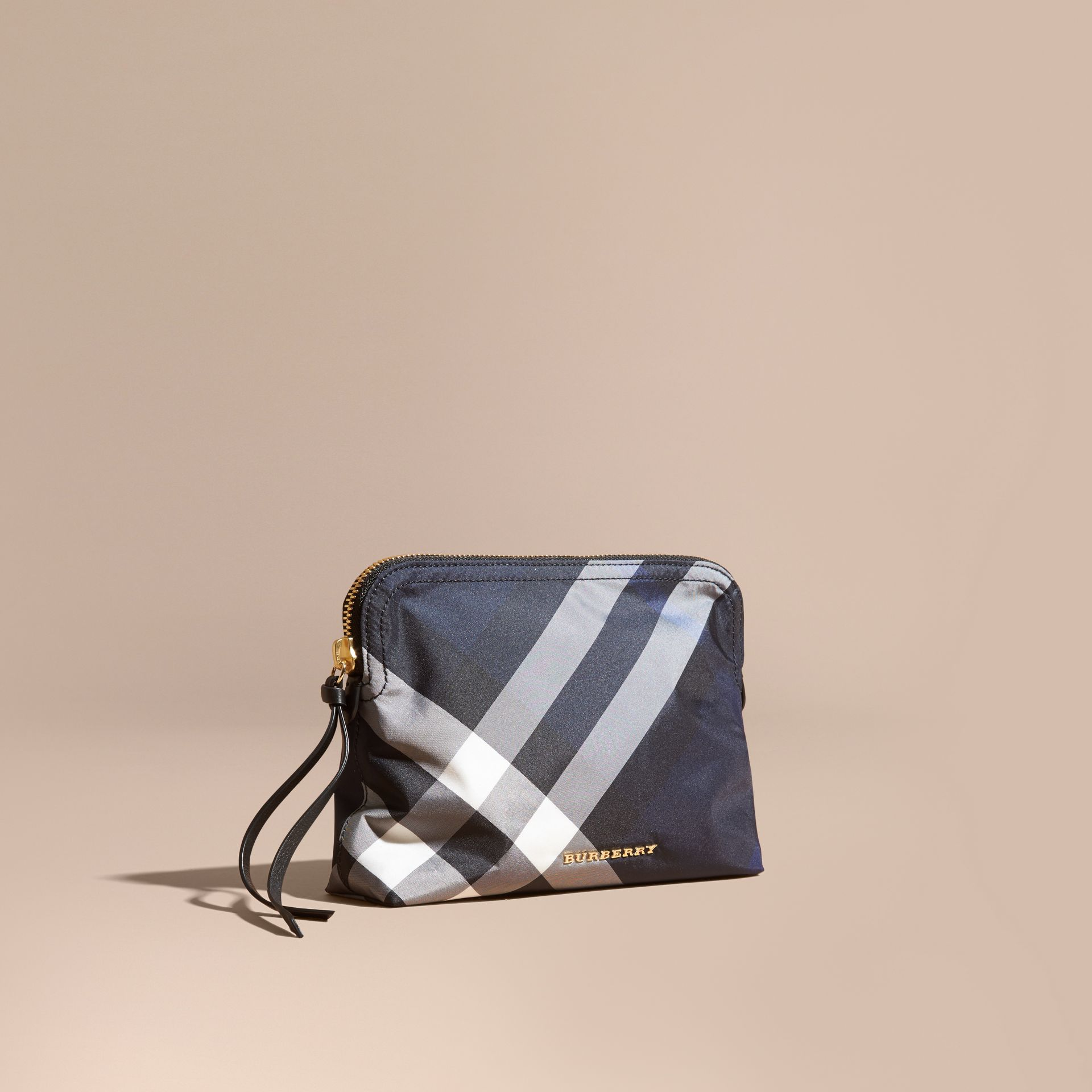 Large Zip-top Check Pouch in Indigo Blue - gallery image 1