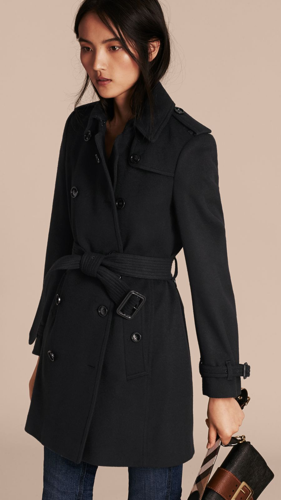 Black Virgin Wool Cashmere Trench Coat - Image 7