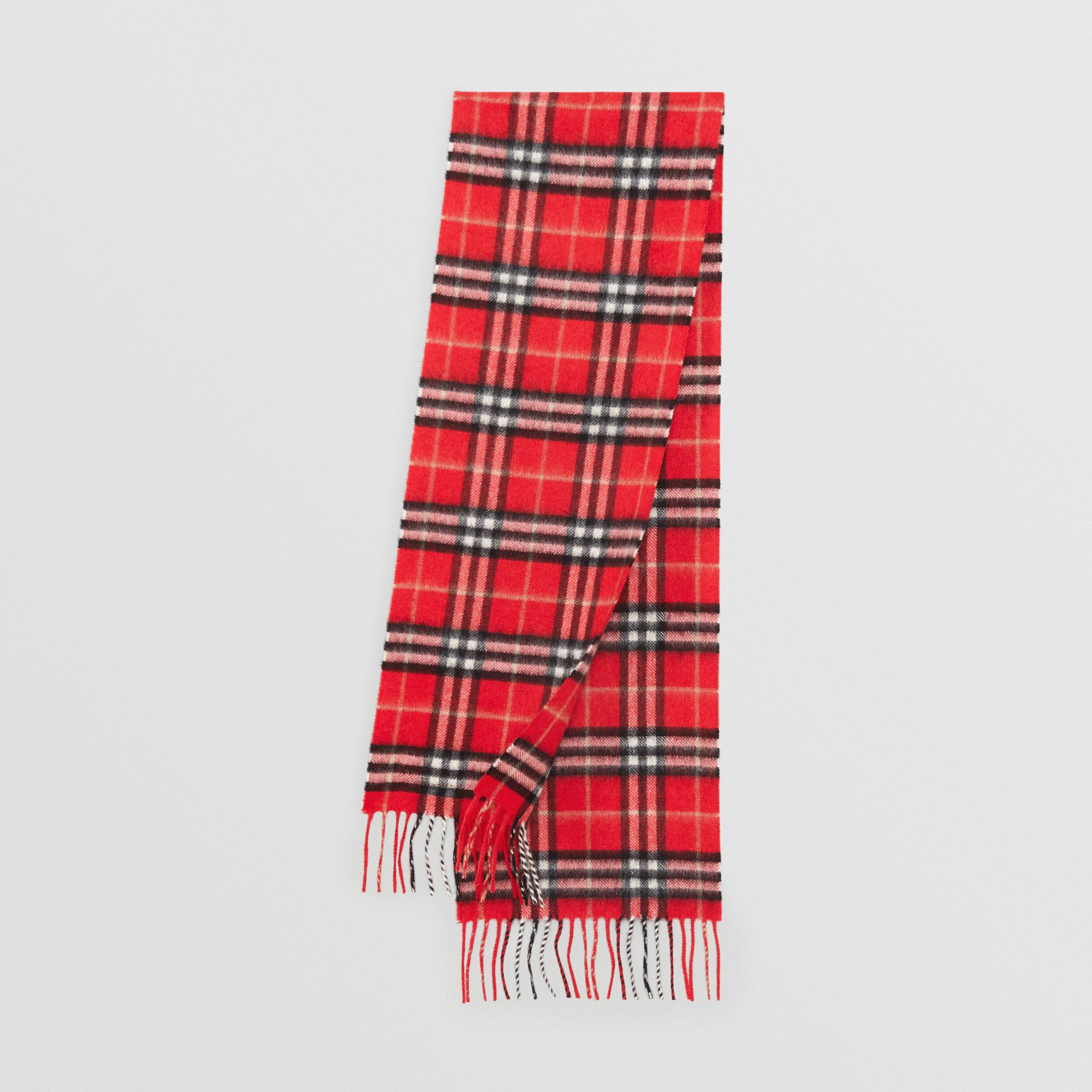 The Mini Classic Vintage Check Cashmere Scarf in Bright Red - Children | Burberry - gallery image 0