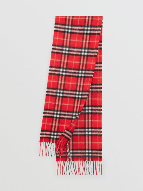 The Mini Classic Vintage Check Cashmere Scarf in Bright Red