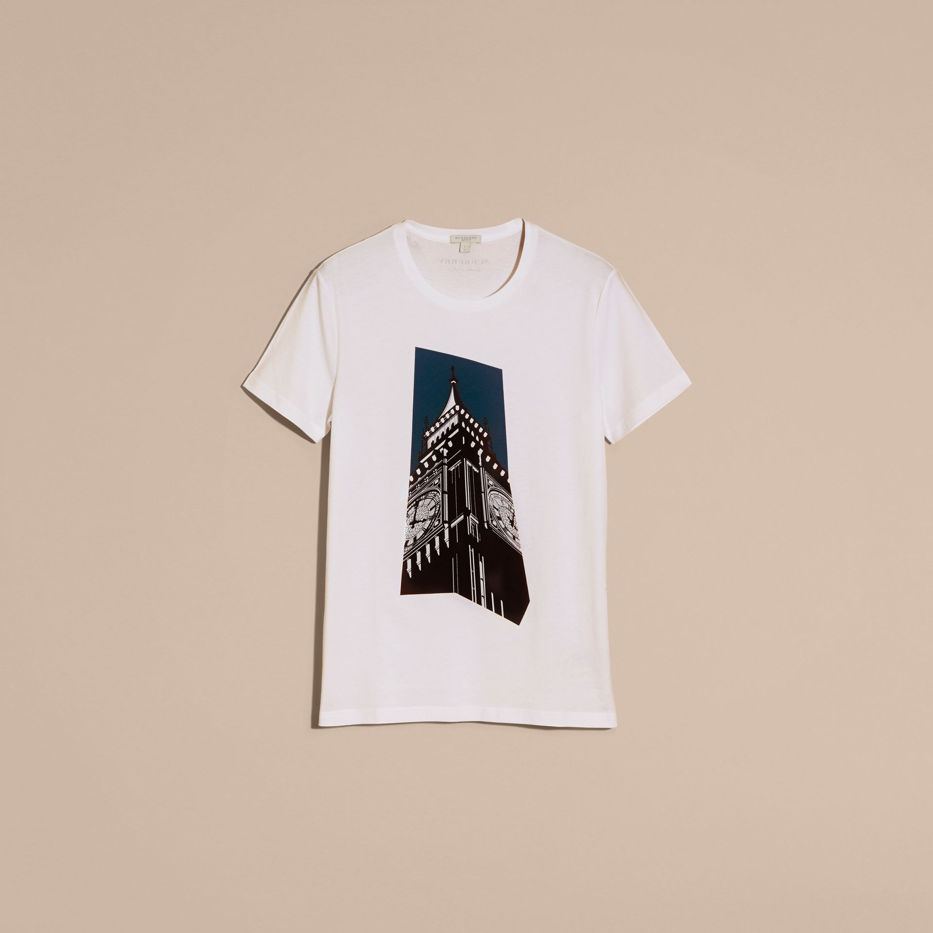 White Big Ben Print Cotton T-shirt - gallery image 4