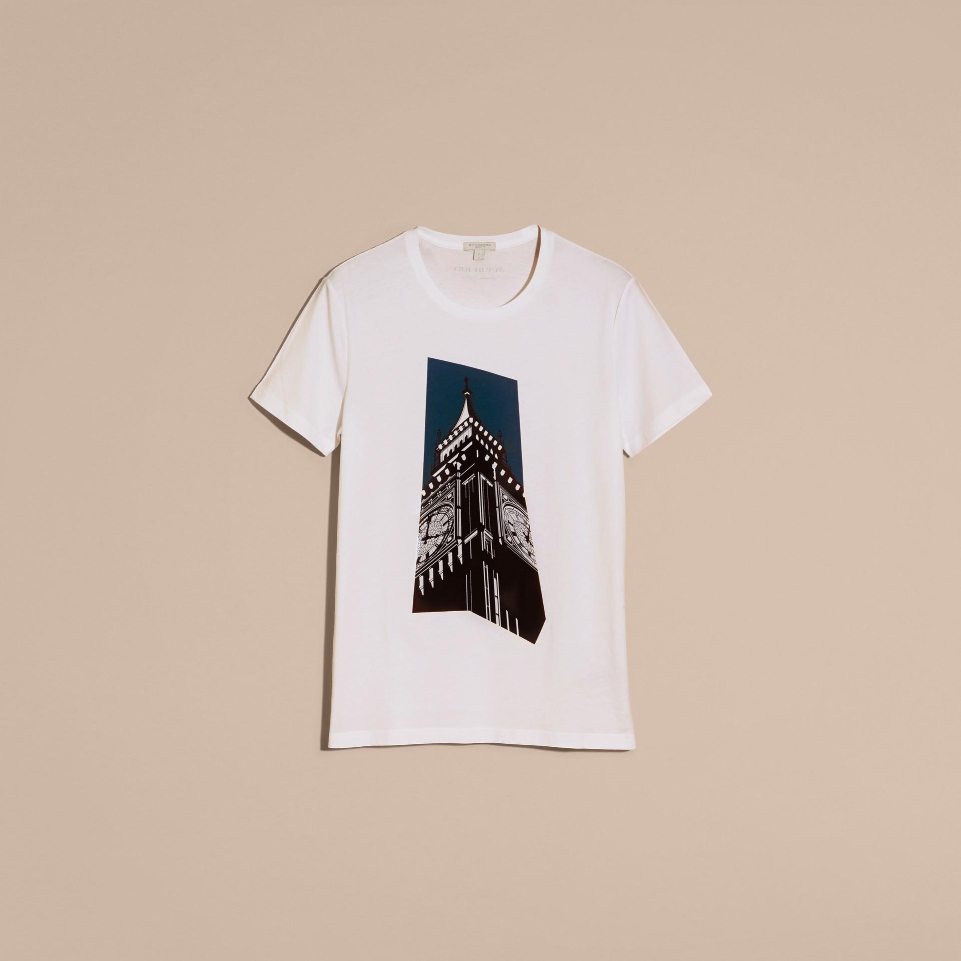 Branco Camiseta de algodão com estampa do Big Ben - galeria de imagens 4