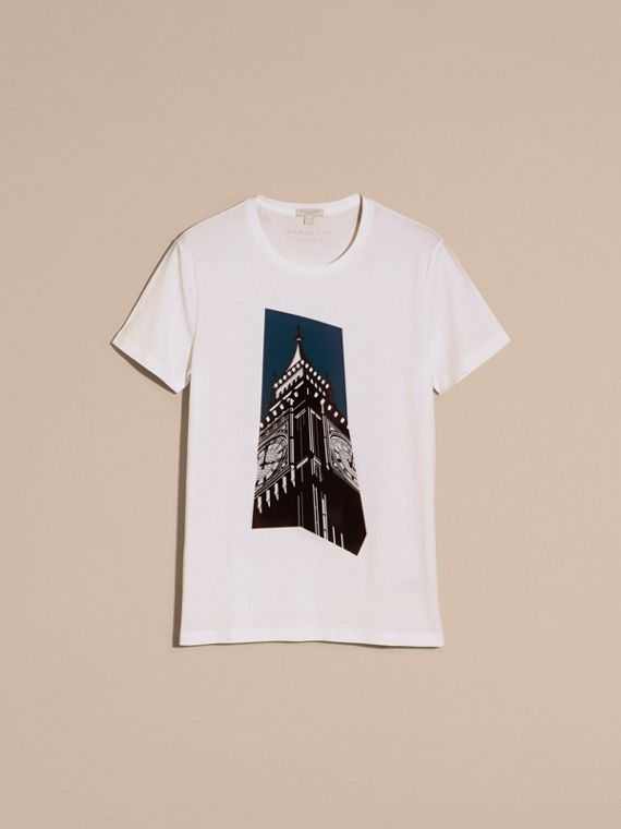 Bianco T-shirt in cotone con stampa Big Ben - cell image 3