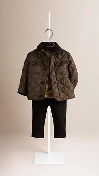 Corduroy Topcollar Quilted Jacket
