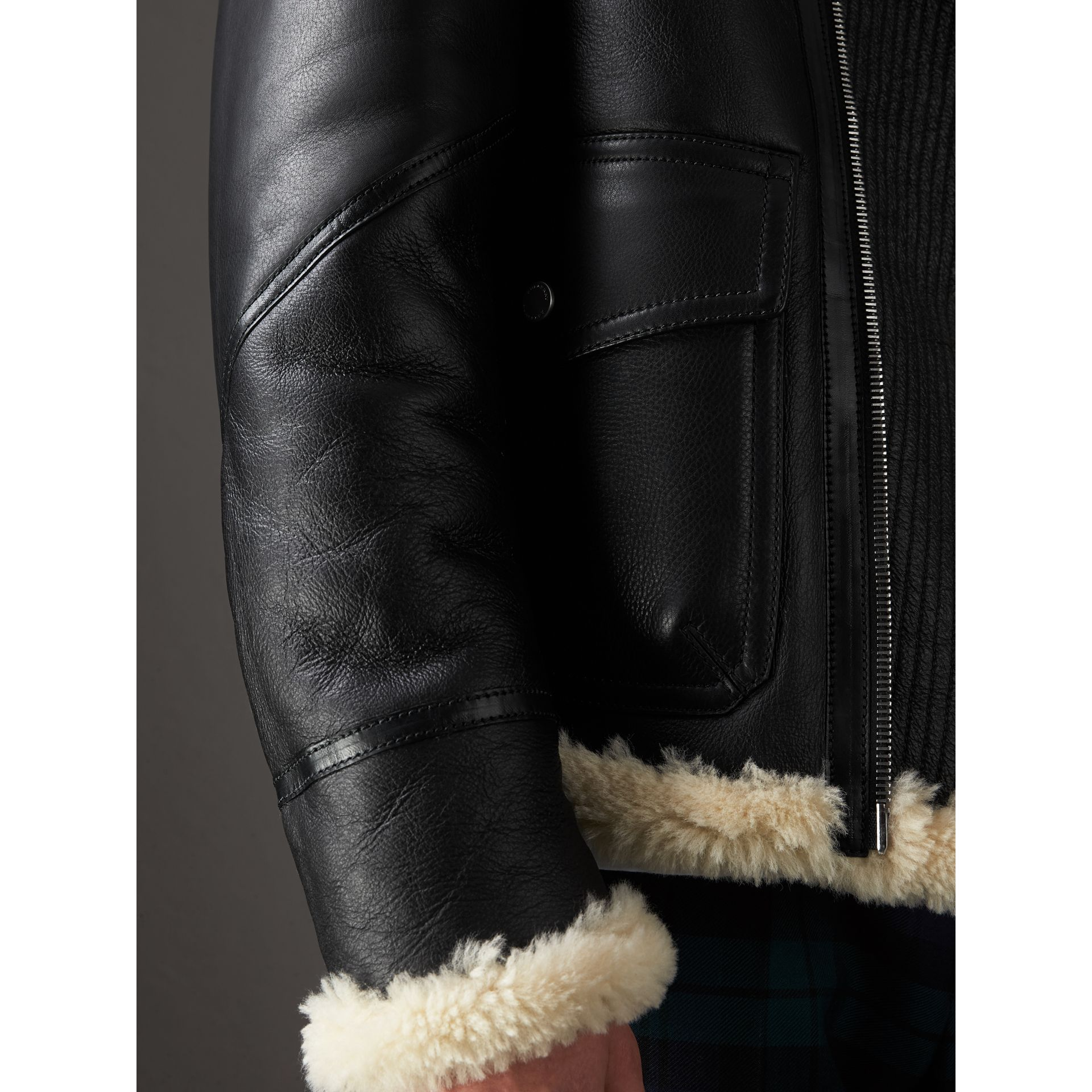 Shearling Aviator Jacket in Black - Men | Burberry - gallery image 5