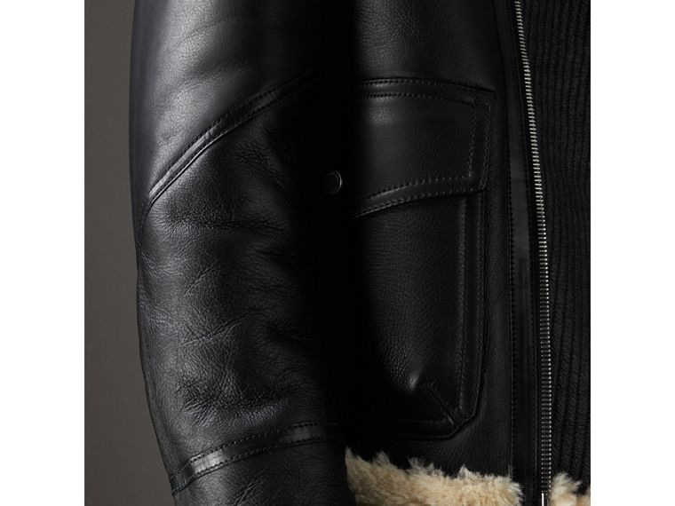 Shearling Aviator Jacket in Black - Men | Burberry - cell image 4
