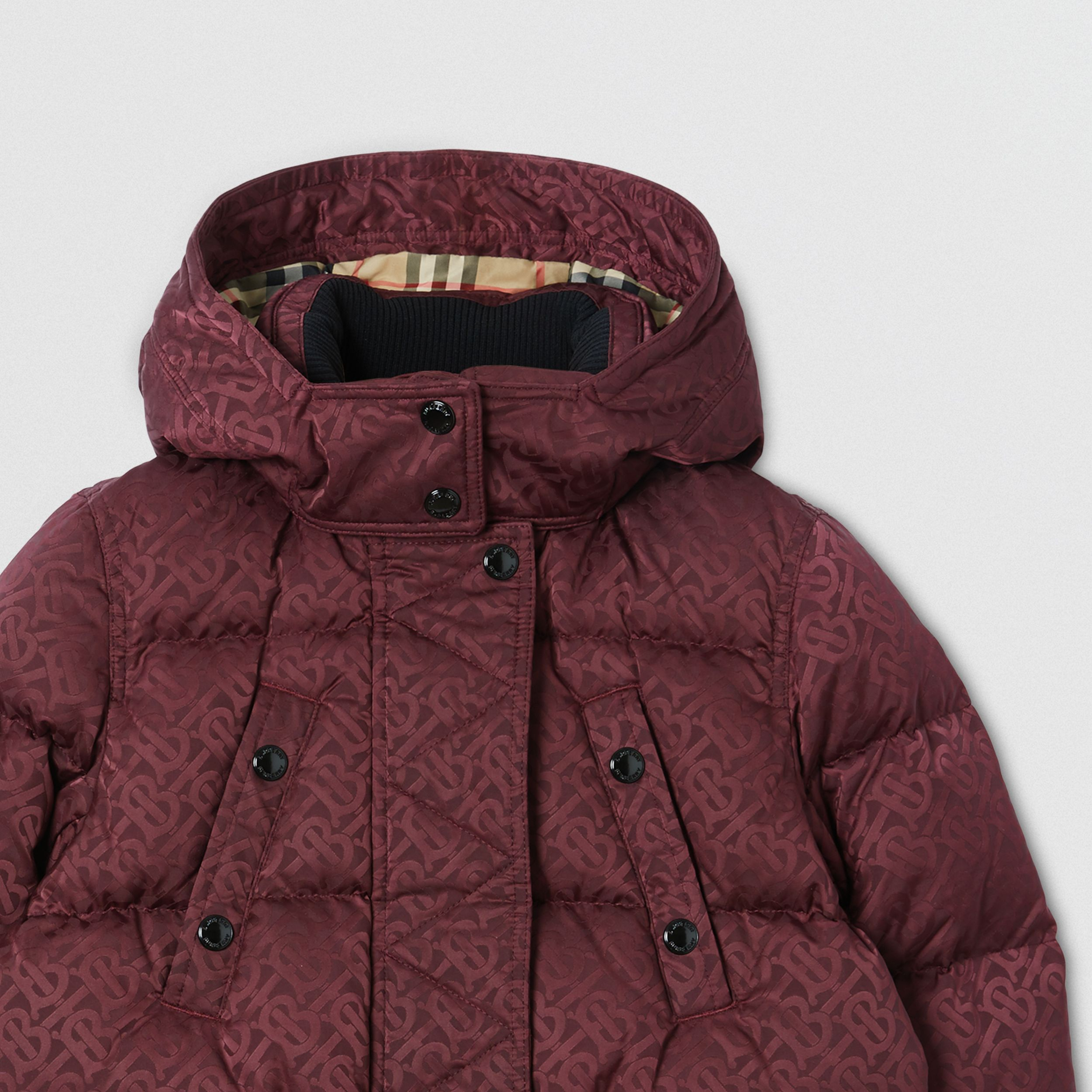 Detachable Hood Monogram Jacquard Puffer Coat | Burberry Singapore - 2