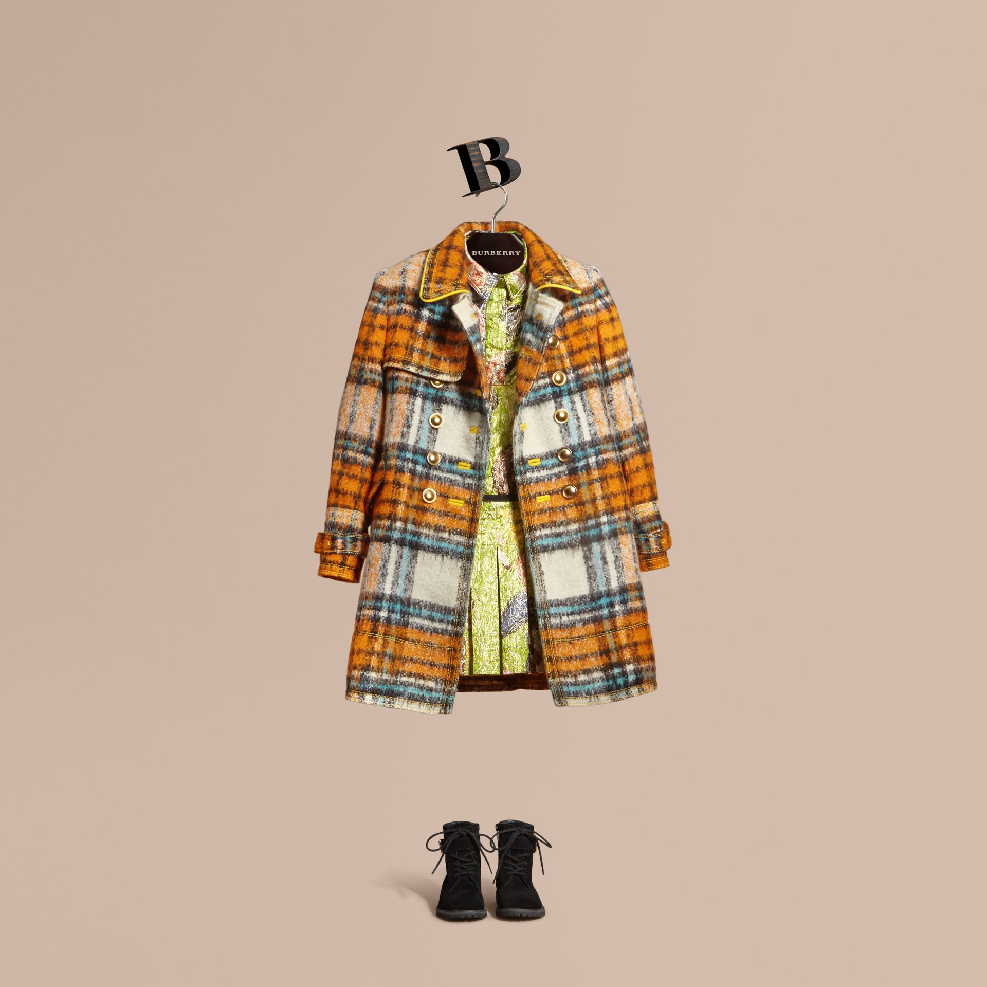 Orange umber Brushed Tartan Wool Mohair Blend Coat - gallery image 1