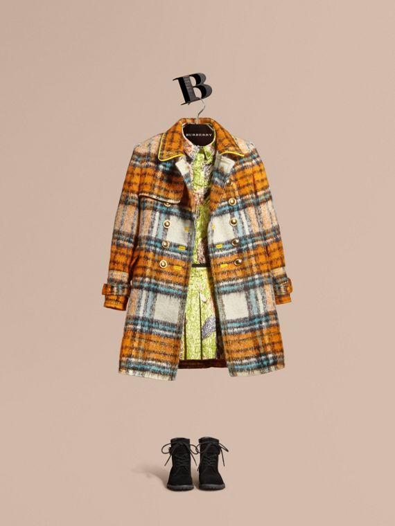 Brushed Tartan Wool Mohair Blend Coat