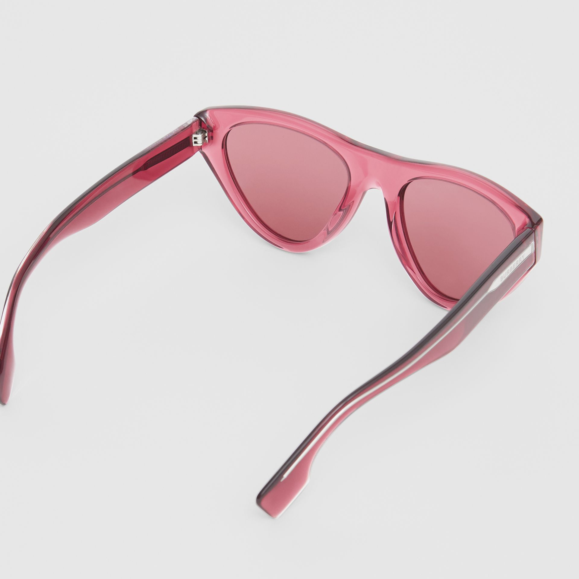 Triangular Frame Sunglasses in Cranberry - Women | Burberry - gallery image 4