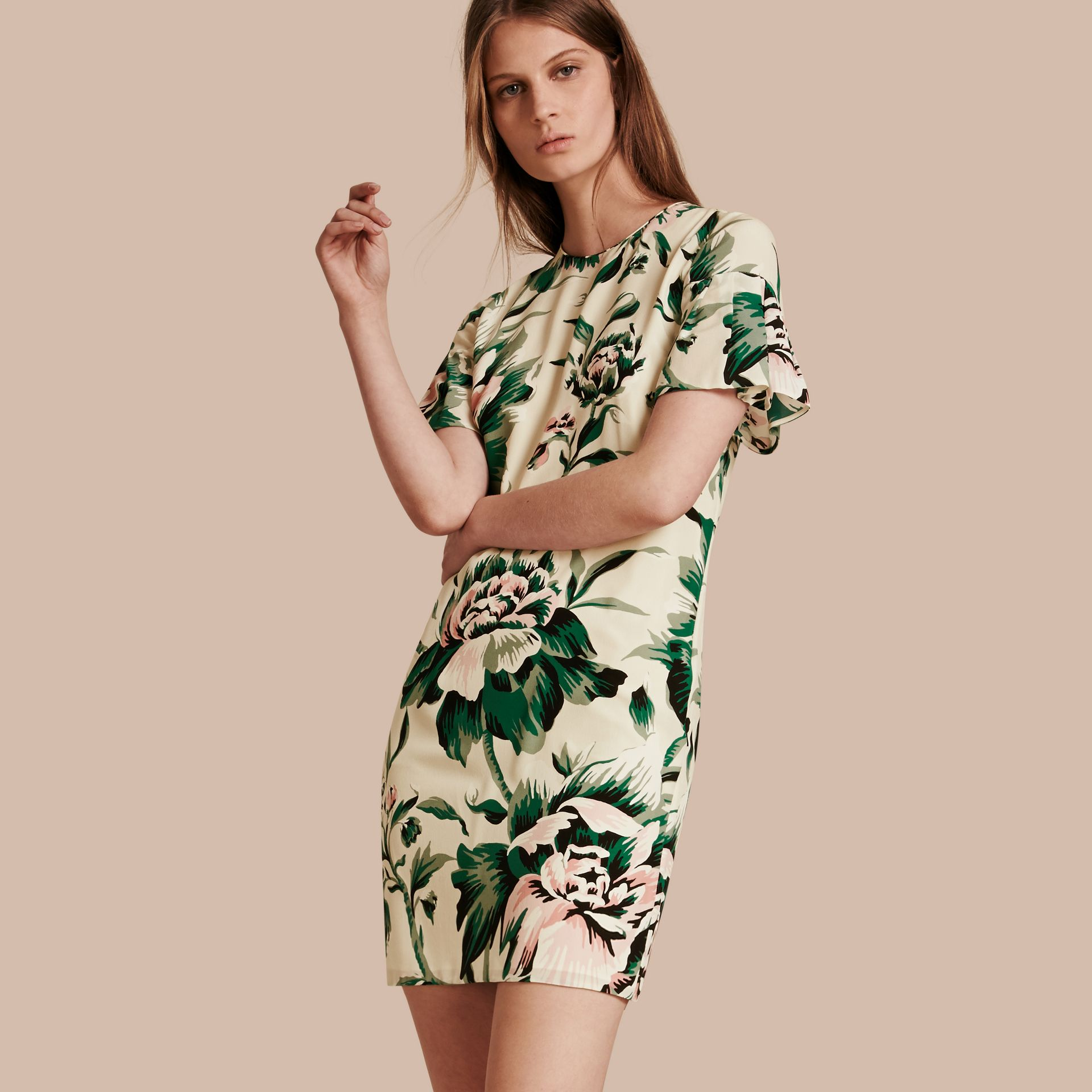 Emerald green Peony Rose Silk Shift Dress with Ruffle Sleeves Emerald Green - gallery image 1