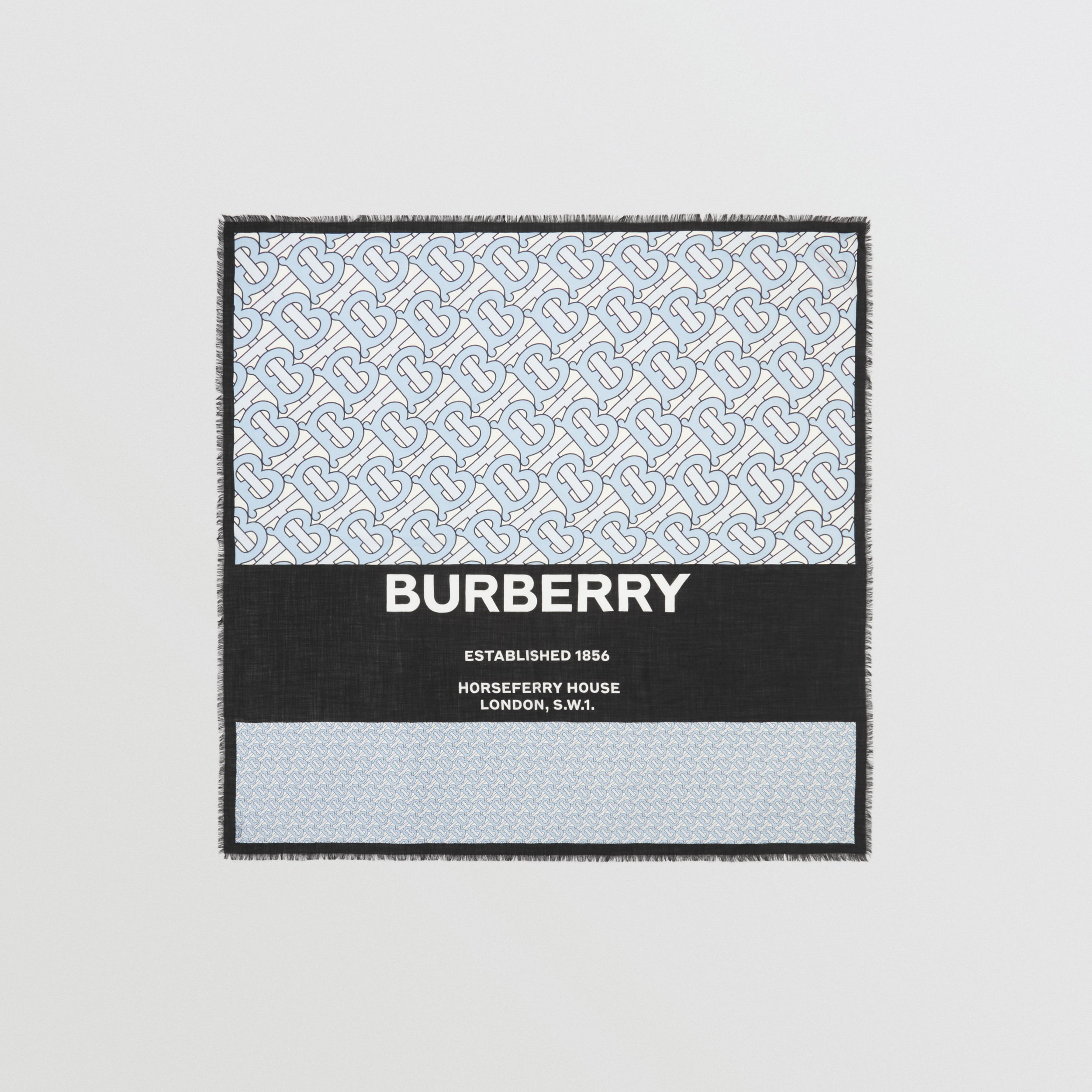 Monogram Print Cashmere Large Square Scarf in Pale Blue | Burberry - 1