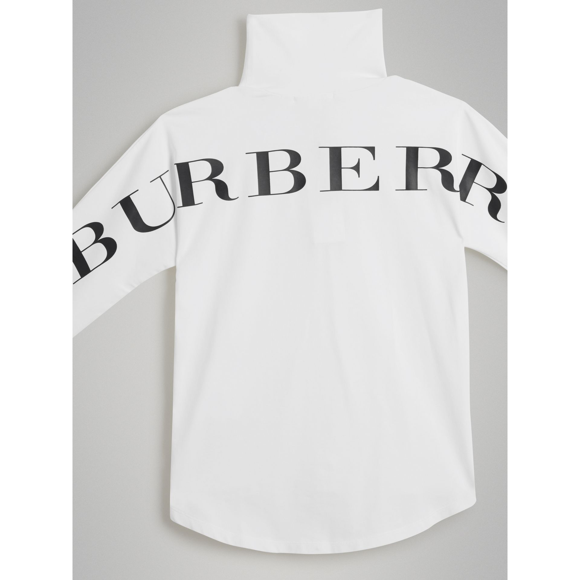 Logo Print Stretch Cotton Roll-neck Top in White | Burberry United States - gallery image 4