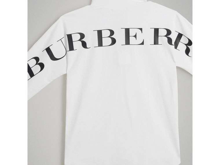 Logo Print Stretch Cotton Roll-neck Top in White - Boy | Burberry Hong Kong - cell image 4