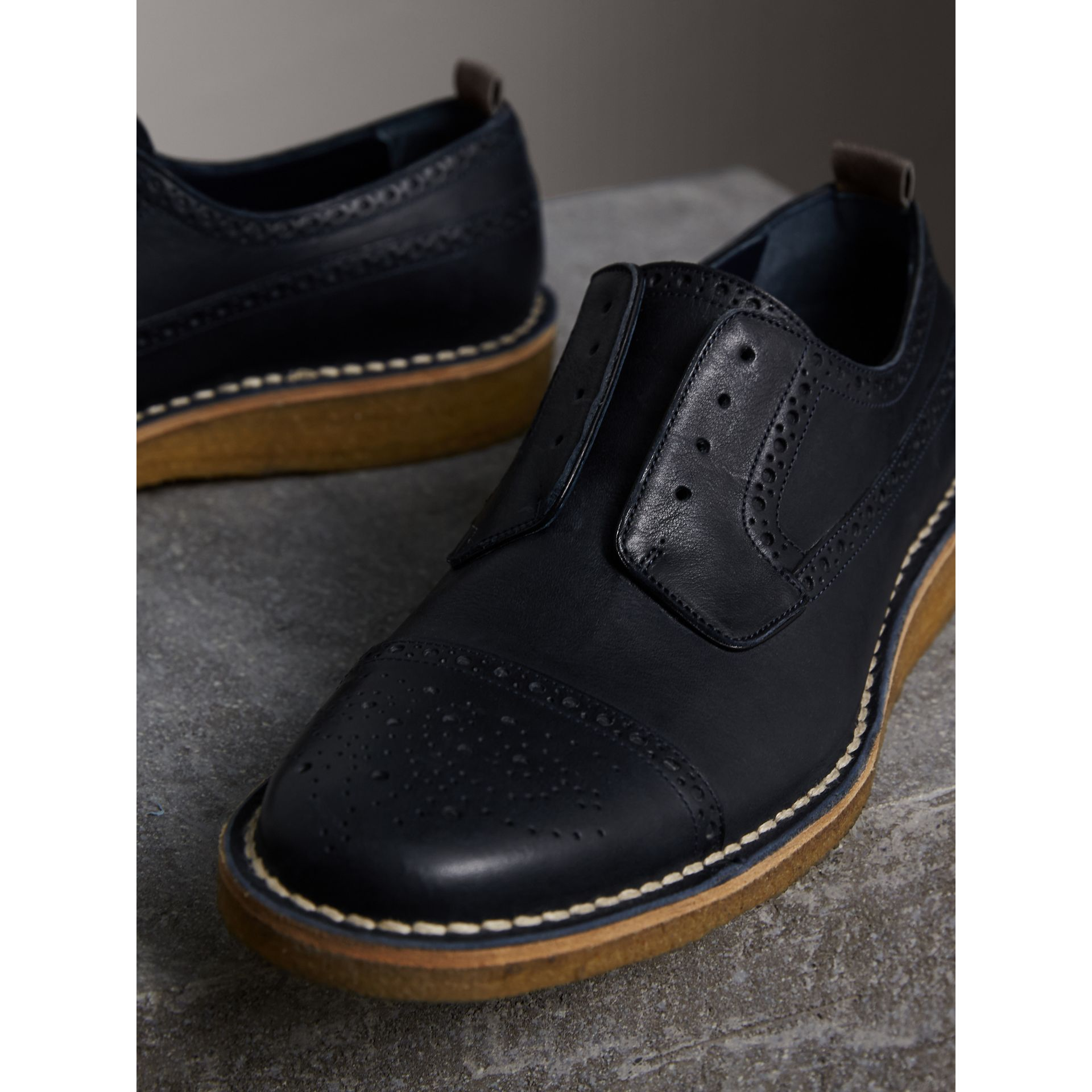 Raised Toe-cap Nappa Leather Brogues in Navy - Men | Burberry - gallery image 4